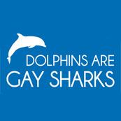 Dámské tričko s potiskem - Dolphins are gay sharks blue