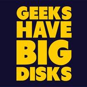 Pánské tričko s potiskem - Geeks have big disks purple
