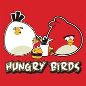 Pánské tričko s potiskem - Hungry birds red