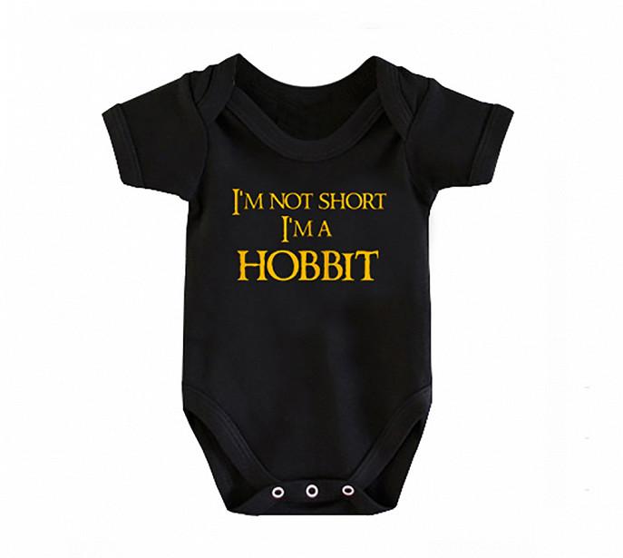 Dětské body s potiskem a kapucí I'm not short I'm not hobbit