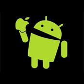 Dámské tričko s potiskem- Android eats apple black