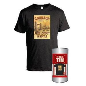 Pánské tričko s potiskem Courage - London bridge v plechovce