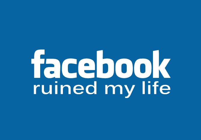 Pánské tričko s potiskem - Facebook ruined my life Blue