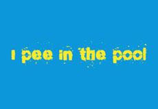 Dámské tričko s potiskem - I pee in the pool blue