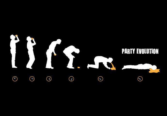 Dámské tričko s potiskem Party evolution