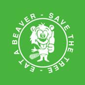Dámské tričko s potiskem - Save the tree-eat a beaver green