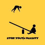 Pánské tričko s potiskem - Stop youth obesity yellow