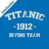Pánské tričko s potiskem - Titanic 1912 driving team blue