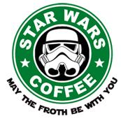 Pánské tričko s potiskem - Trooper star wars coffee white