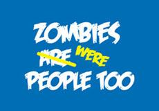 Dámské tričko s potiskem - Zombies were people too blue