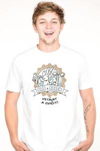Pánské tričko s potiskem Bob a Bobek - Vstávat a cvičit! Králící z klobouku!