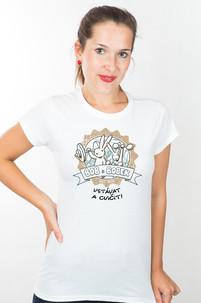 Dámské tričko s potiskem Bob a Bobek - Vstávat a cvičit!