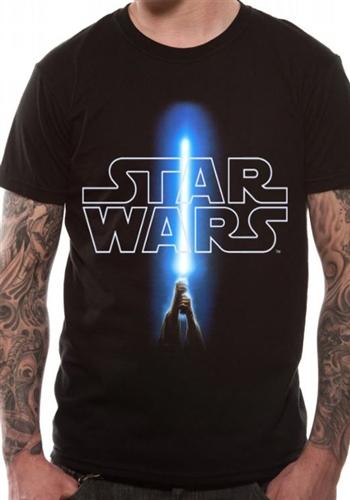 Pánské tričko Star Wars/Hvězdné války Logo and Saber (L)