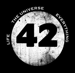 Dámské tričko s potiskem - 42 - Life, The Universe and Everything modré