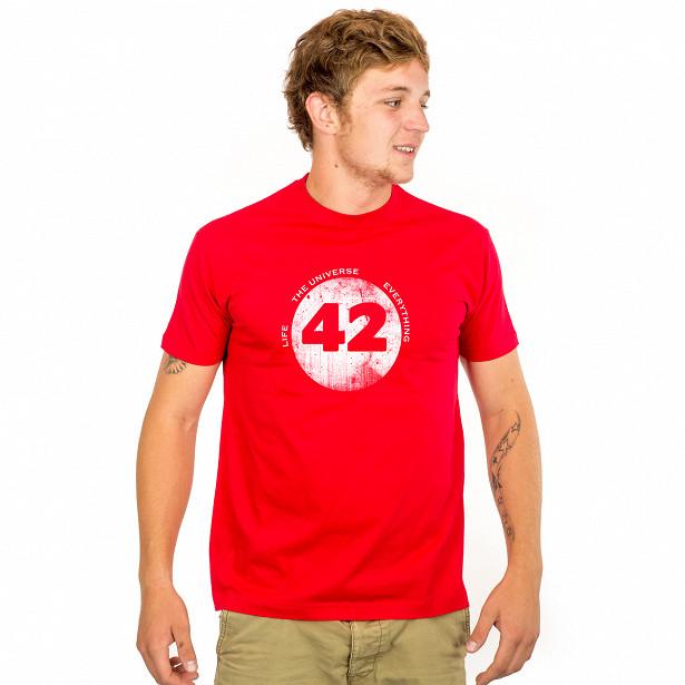 Pánské tričko s potiskem - 42 - Life, The Universe and Everything červené